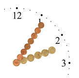Orologio fatto delle monete dei soldi Fotografia Stock