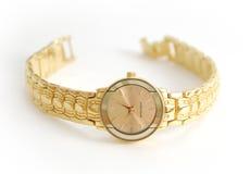 Orologio femminile su bianco Fotografia Stock Libera da Diritti