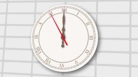Orologio grigio chiaro animato sul fondo del muro di mattoni illustrazione di stock