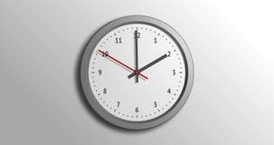 Orologio grigio, orologio del ` di 2 del pomeriggio o, funzionamento della seconda mano illustrazione vettoriale
