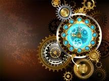 Orologio insolito con gli ingranaggi Steampunk Fotografia Stock