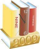 Orologio, libri e nuovo anno illustrazione vettoriale