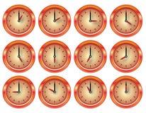 Orologio lucido di vettore rosso ed insieme dell'arancio royalty illustrazione gratis