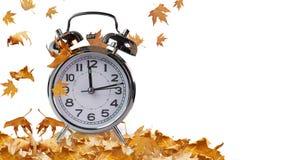 Orologio marcatempo e foglie di autunno isolati per fondo fotografie stock libere da diritti