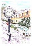 orologio nella città nell'inverno illustrazione di stock