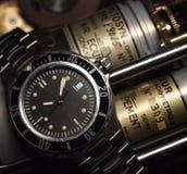 Orologio nero dell'operatore subacqueo Fotografie Stock Libere da Diritti