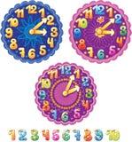 Orologio per i bambini ed i numeri Fotografia Stock Libera da Diritti