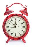Orologio rosso di natale Fotografia Stock Libera da Diritti