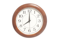 Orologio rotondo dell'ufficio che mostra otto in punto Fotografie Stock Libere da Diritti