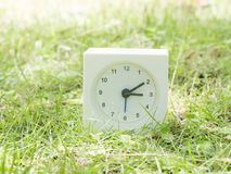 Orologio semplice bianco sull'iarda del prato inglese, 3:10 tre dieci Fotografia Stock Libera da Diritti