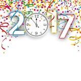 Orologio Silvester Confetti Ribbons 2017 Illustrazione Vettoriale