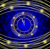 Orologio su un fondo festivo blu Fotografie Stock Libere da Diritti