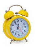 Orologio Sveglia, in una scatola gialla Fotografie Stock Libere da Diritti