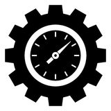Orologio/temporizzatore semplici, piani, in bianco e nero dentro di un'icona della ruota dentata illustrazione di stock