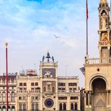 ` Orologio, Venezia, Italia del dell della torre, o di Torre di orologio Fotografie Stock