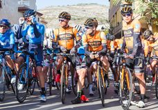 OROPESA DEL MAR, SPAIN - JANUARY 31, 2018: Bicyclists participate in the start bicycle race in La Vuelta on January 31 Royalty Free Stock Images