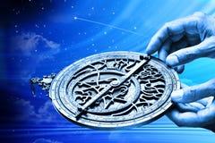 Oroscopo del segno della stella di astrologia dell'astrolabio Fotografie Stock Libere da Diritti