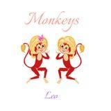Oroscopo divertente con le scimmie sveglie Segni dello zodiaco leo Fotografie Stock Libere da Diritti