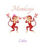 Oroscopo divertente con le scimmie sveglie Segni dello zodiaco Libra Fotografie Stock Libere da Diritti