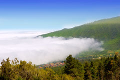 Orotava valley with sea of clouds in Tenerife mountain Stock Photography