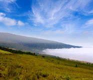 Orotava valley with sea of clouds in Tenerife mountain Stock Photo
