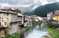 Orozko village in Basque Country with river and a bridge Stock Photo