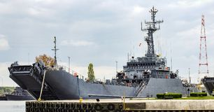 ORP Gniezno, Polish landing and mine ship in military seaport in Swinoujscie in Poland. Designation 822. Photo in panoramic, 16:9 format. Photo taken in May Royalty Free Stock Images