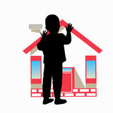 AN ORPHAN. ORPHANAGE. The silhouette Royalty Free Stock Photography