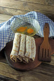 Orphaned Pancakes and eggs royalty free stock photography