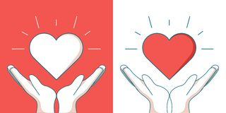 Orphans Help modern vector single line design icon. An image of a heart floating between two hands royalty free illustration