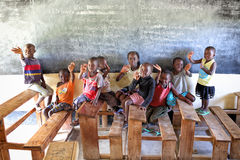 Orphans in an orphan boarding school on Mfangano Island, Kenya. Many children on Mfangano Island lost their parents because they died of HIV Royalty Free Stock Image