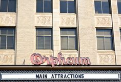 Orpheum Theater-Sioux City, Iowa. Exterior view of the historic  Orpheum Theater in downtown Sioux City, Iowa Stock Photos