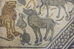 Orpheus mosaikfragment med djur royaltyfria foton
