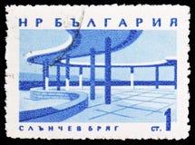 Orpheus Restauracyjne «Pogodne plaże, Czarny Denny Brzegowych kurortów seria około 1963, fotografia stock