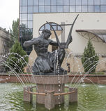 Orpheus sculpture in the fountain near the theater Philharmonic Royalty Free Stock Photo