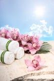 Orquídea e toalha no indicador dos termas Imagens de Stock