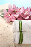 Orquídea y toalla en la visualización del balneario Fotos de archivo
