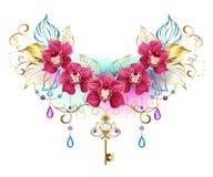 Orquídeas cor-de-rosa com grânulos e chave do ouro Imagens de Stock