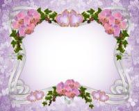 Orquídeas e hera da beira do convite do casamento   Fotos de Stock