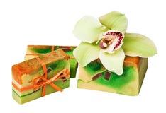 Orquídeas Handmade dos sabões foto de stock royalty free