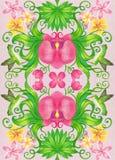 Orquídeas y pájaros stock de ilustración