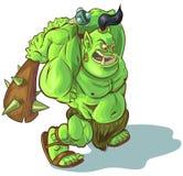 Orque ou ogre de Troll de bande dessinée de vecteur avec le club élevé Image libre de droits