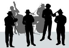 Orquesta del jazz stock de ilustración