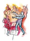 Orquestra com um condutor Imagem de Stock Royalty Free