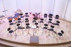 Orquestra da tentativa na casa da cultura Instrumentos e povos de sopro Foto 2019 do curso fotos de stock
