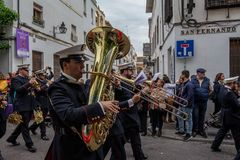 Orquestra de Semana Santa em Córdova foto de stock