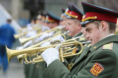 Orquestra militar Foto de Stock Royalty Free