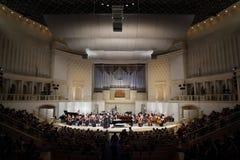 Orquestra sinfónica do conservatório do estado de Moscovo imagens de stock