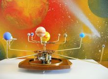 Orrery clock with 10 planets Royalty Free Stock Photography