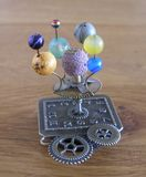Orrery steampunk art small sculpture for dolls house. Royalty Free Stock Images
